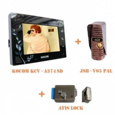 Комплект цветного домофона с замком KOCOM KCV-A374 LE