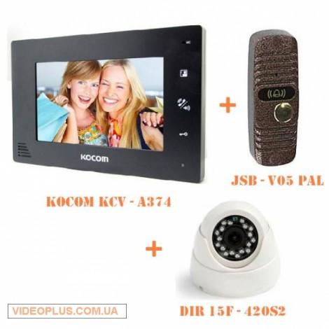 Комплект цветного домофона KOCOM с купольной камерой
